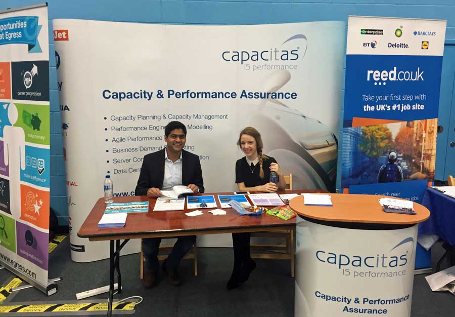 Rebeca and Prasham at the Capacitas Stand