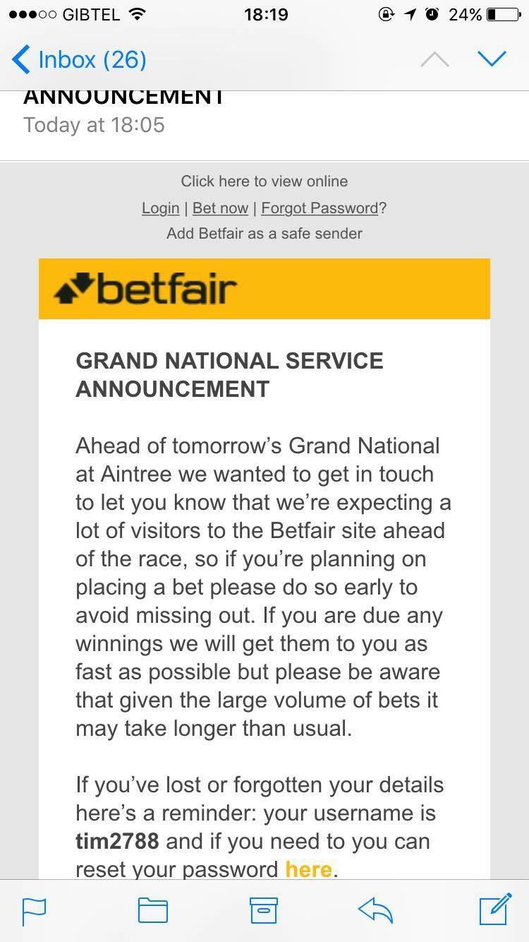 betfair warning