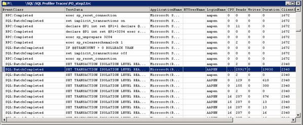 SQL Profiler trace