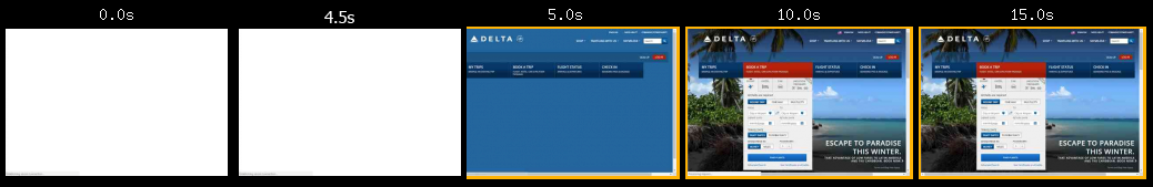 Delta Airlines' website loading times
